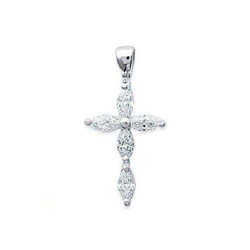 Cross Pendant Catholic Zirconium Sterling Silver New