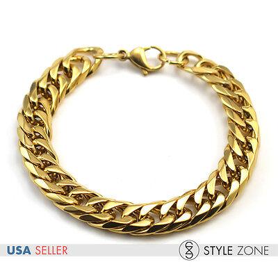 "8.5"" 12x5mm WIDE MEN's Stainless Steel Golden Cuban Curb Link Chain Bracelet B67"