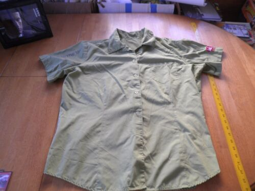 Jack in the Box sewn button down uniform shirt XL green