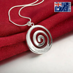 Stunning-New-925-Sterling-Silver-Filled-Spiral-Pendant-Necklace-With-Zircon