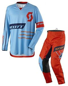 TUTA-MAGLIA-PANTALONI-CROSS-ENDURO-SCOTT-350-DIRT-BLU-ORANGE-38-54-XXL
