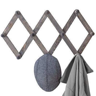 Peg Coat Rack Hanger, Accordion Style Expandable Wall Wooden Coat Rack