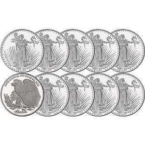 Saint-Gaudens-1oz-999-Silver-Medallion-by-Silvertowne-LOT-OF-10