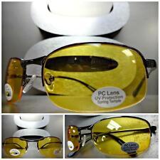 Mens or Women Day Night RIDING SHOOTING DRIVING Yellow Lens SUN GLASSES Gunmetal