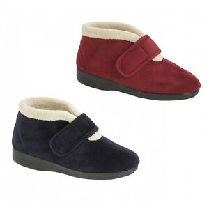 Sleepers AMELIA Ladies Warm Lined Memory Foam Comfort Touch Fasten Boot Slippers