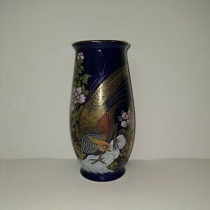 "Kutani Japan Vase Dark Cobalt Blue 7 1/2"" Pheasants, Flowers, Gold Trim"