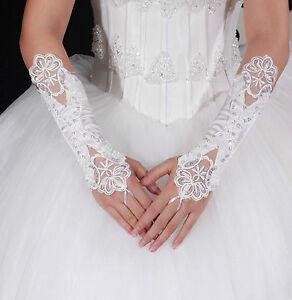 Brauthandschuhe-fingerlos-Braut-Handschuhe-Perlen-Pailletten-Hochzeit-Weiss-Ivory