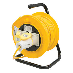 Silverline-Cable-Reel-110V-Freestanding-extension-lead-16A-25m-2-Socket-868878