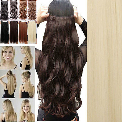 "One piece Clip In Half Full Head hair Extensions 17-30"" Straight Curly/Wavy dx77"