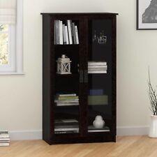 Item 3 Storage Cabinet With 4 Shelves 2 Glass Doors Bookcase Black Cupboard Bookshelf