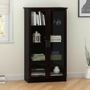 Image Is Loading Storage Cabinet With 4 Shelves 2 Glass Doors