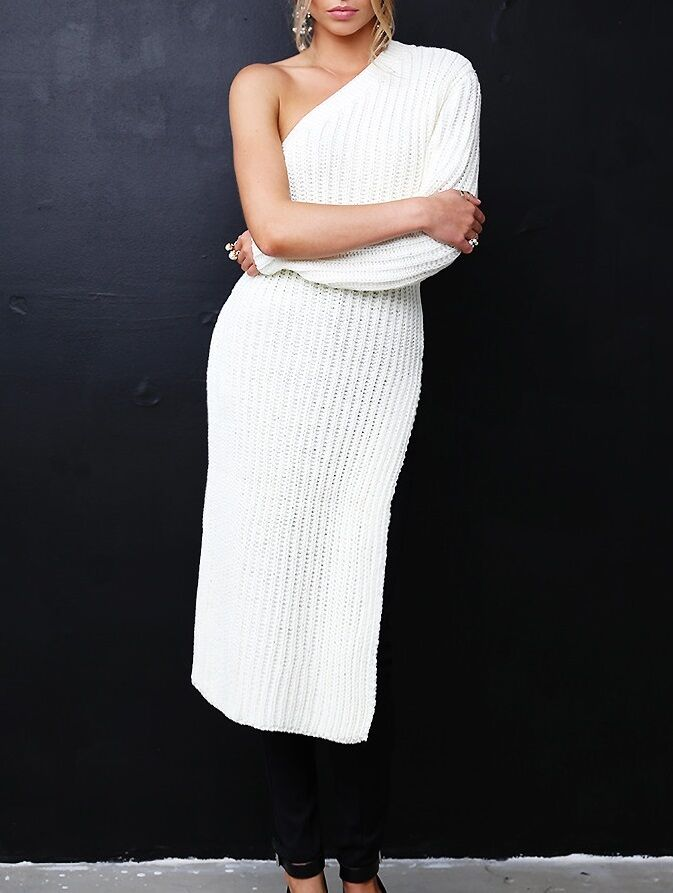 StyleKeepers One Shoulder Knit Sweater Dress with Side Slit M L