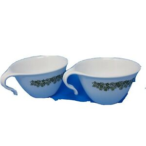 Corelle Crazy Daisy Pyrex Spring Blossom Tea Cup Mugs Open Handle Hook Set of 2