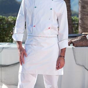 Grembiule Cuoco Chef Uomo Donna Cucina Divisa Cotone Lavoro ... e08ece870691