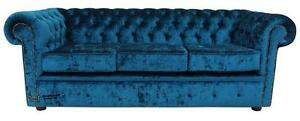 Chesterfield 3 Seater Pastiche Petrol Blue Velvet Fabric Sofa Settee