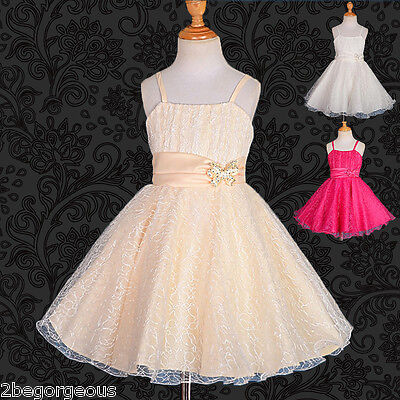 Wedding Flower Girl Bridesmaid Dresses Party Birthday Occasion Age 3-13 Yrs 146
