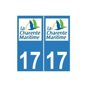 17 Cg Charente-maritime Autocollant Plaque Immatriculation Sticker Arrondis Belle En Couleur