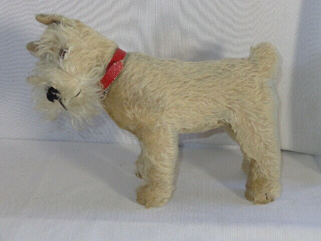 1950s Steiff  TESSI  Schnauzer Stuffed Mohair Plush Dog