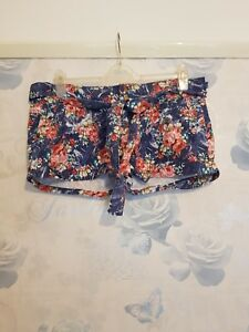 Ladies-039-YES-YES-new-look-Floral-flower-blue-pink-Shorts-Used-UK16-E44-VGC