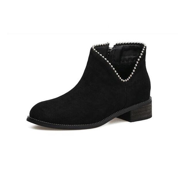botas bajo zapatos botas militares 4 cm negro elegantes como piel 9601