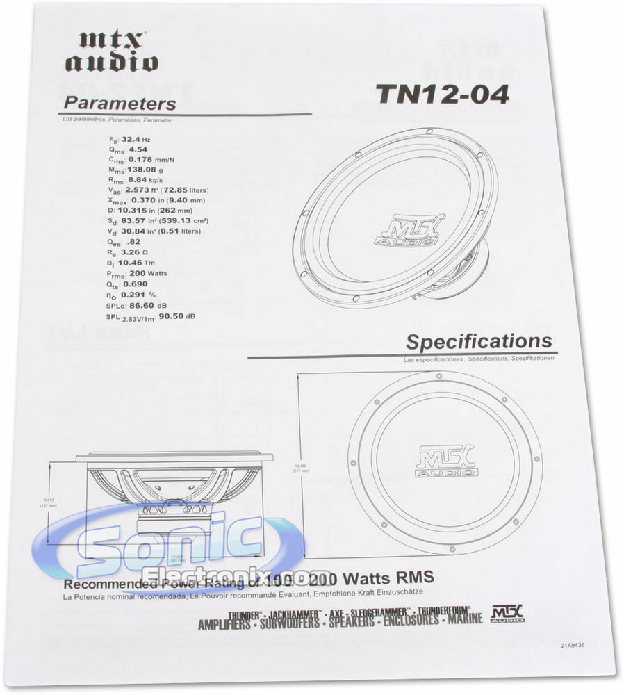Mtx Audio Tn12 04 Car 12 Terminator Series Single 4 Ohm Subwoofer Amp Wiring Diagram 400w Ebay