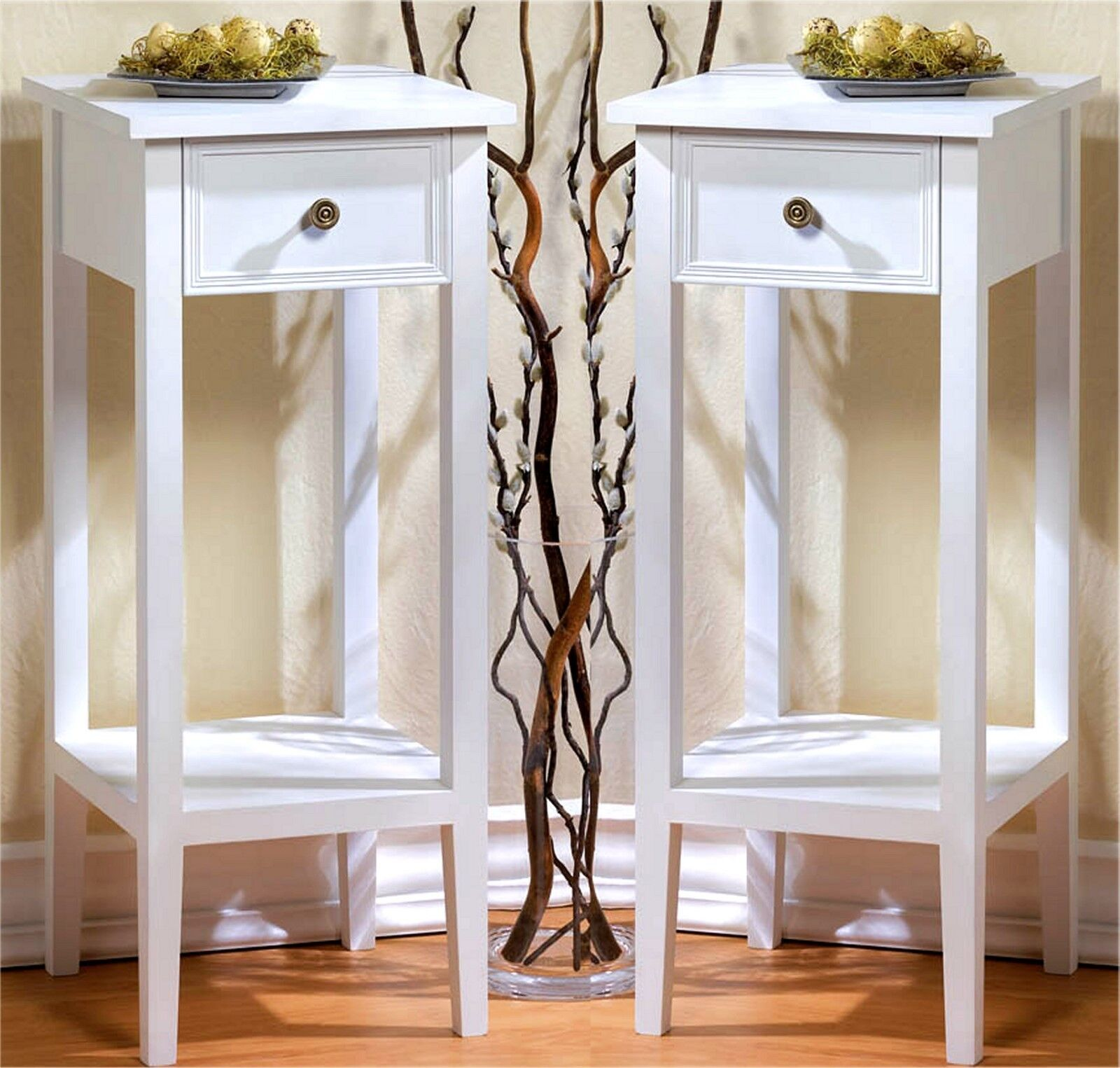 White Side End Table Set Of 2 Night Stand Single Cube Shelving Small Storage For Sale Online Ebay
