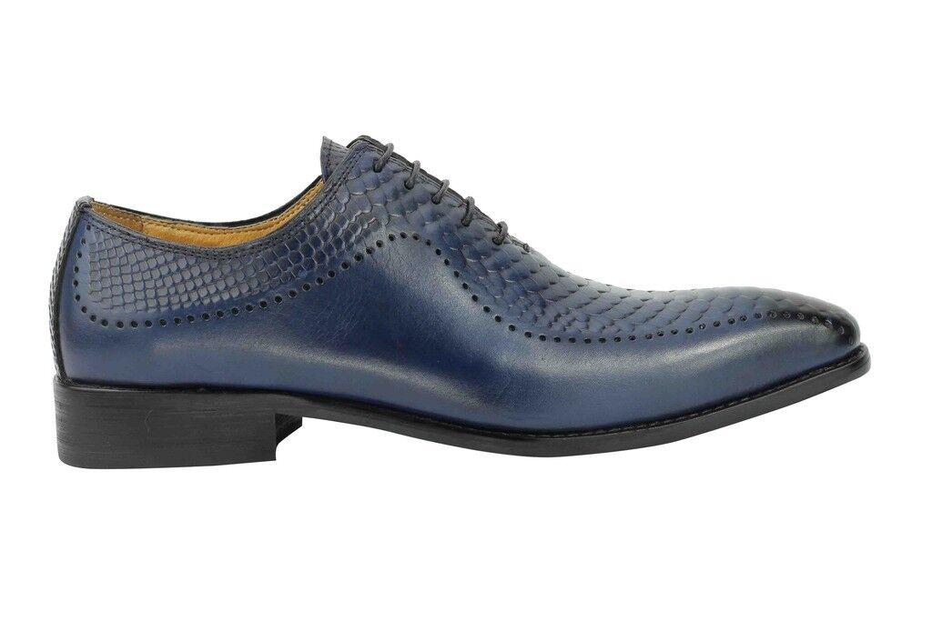 POLO da uomo blu vera effetto pelle Pelle di Serpente effetto vera vintage Smart Formale Lacci Scarpe 306292