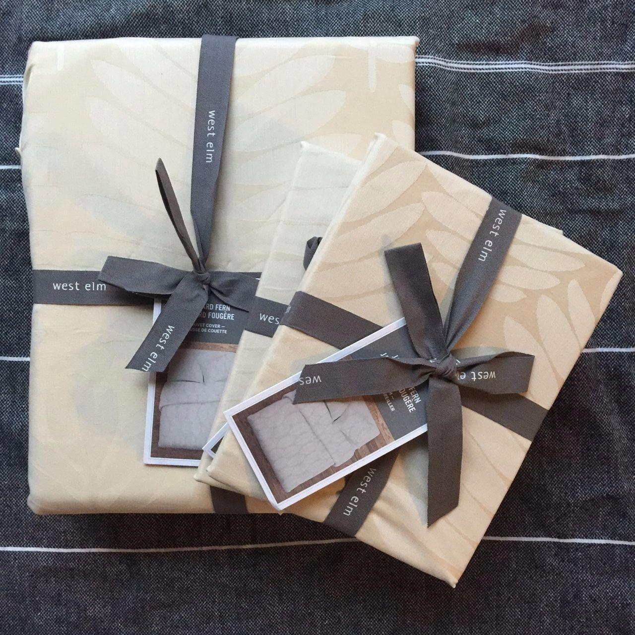 West Elm Jacquard Fern Duvet cover + 2 pillowcases 3pc King Cream Beige