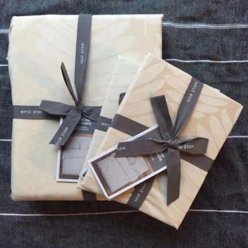 2 pillowcases 3pc King Cream Beige West Elm Jacquard Fern Duvet cover
