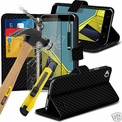 Luxury Carbon Fibre Wallet Flip Case Cover & Tempered Glass For Various Phones