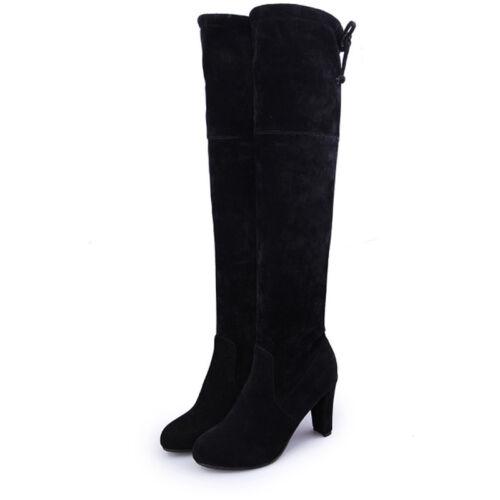 Damen Kniestiefel Warme Winterstiefel Overknee High Heel Blockabsatz Stiefel 43