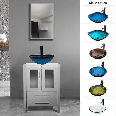 24 Bathroom Vanity Modern W Tempered Glass Vessel Sink Cabinet Set Top Mdf Ebay