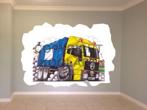 "Énorme Koolart Cartoon camions Refuse Truck /""Seddon/"" Autocollant Mural Affiche Mural 1536"