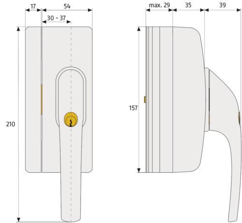 2x FAS97 Scharnierseitensicherung W//B SET NEU Abus FO400N Fenstergriff-Schloss