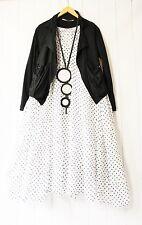 Moonshine Kleid 50 52 54  Weiß Lagenlook Pünktchen Schwarz Dots Sommer Neu