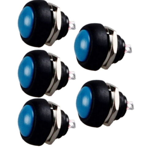 10 pcs Blue 12mm Waterproof Momentary ON//OFF Push Button Mini Round Switch