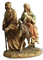 """NEW! 9"""" Flight to Egypt Color Statue Figurine Mary Joseph and Baby Jesus Donkey"""