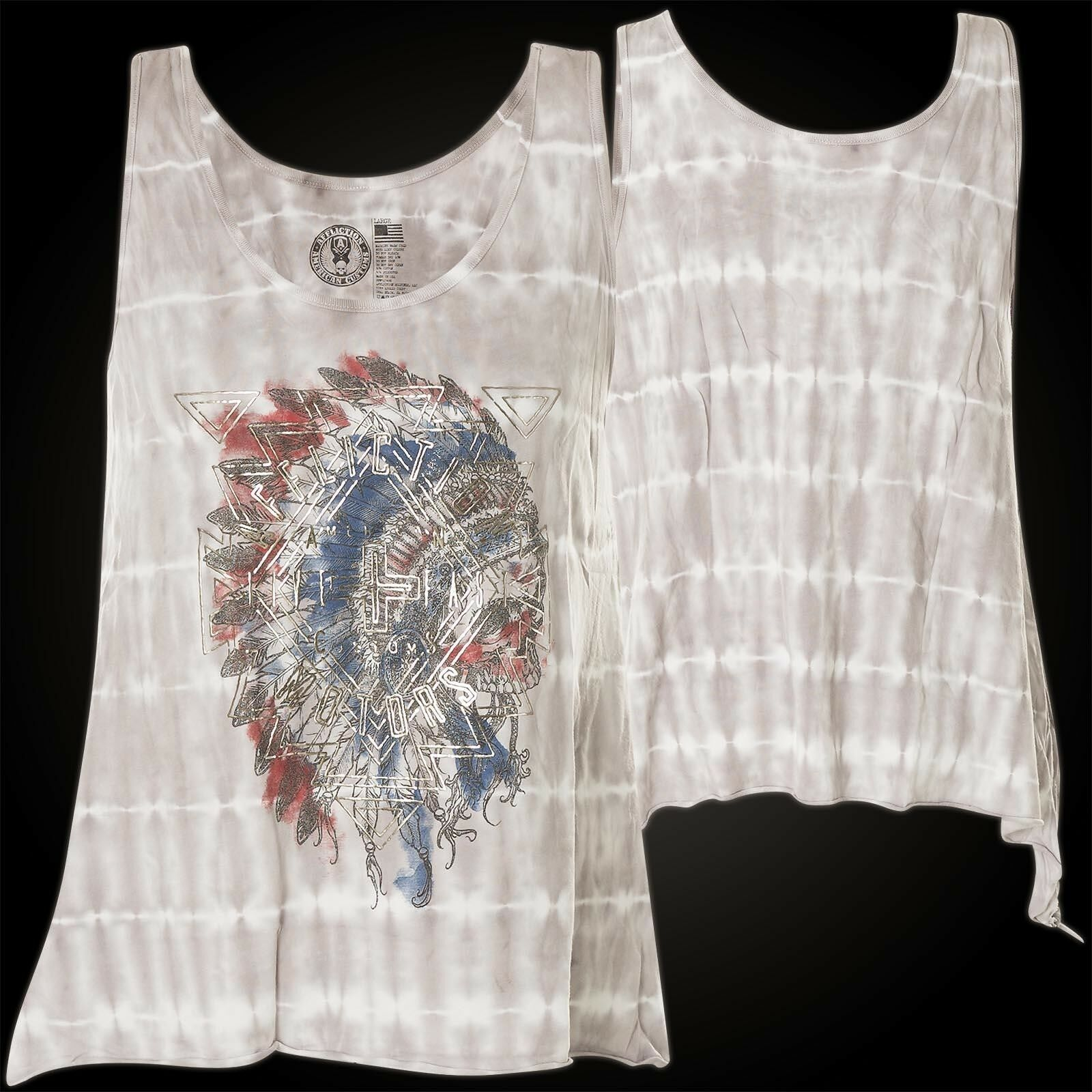 Affliction Woman Tank Top Ac Painted Horse Light Grey