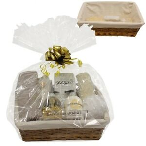 Christmas Gift Sets Diy.Details About Make Your Own Hamper Wicker Basket Cellophane Bow Christmas Gift Set Food Kit