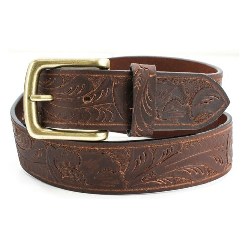 Brown Leather Belt with Embossed Pattern