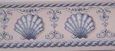 "Wallpaper Border Blue + Off White Shell Rope Chair Rail Mini 3"" Wall 556930 NEW"