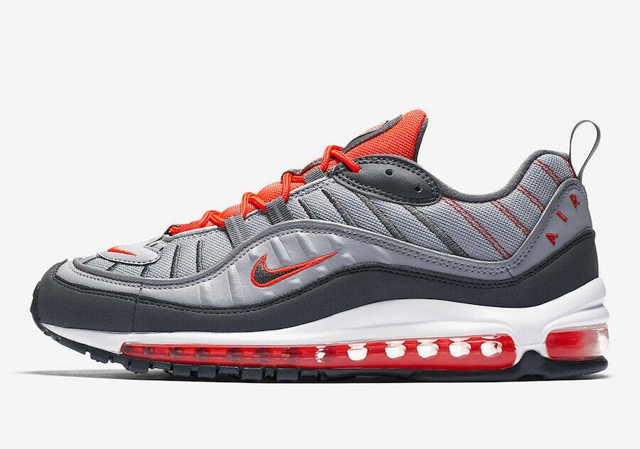 Nike Air Air Air Max 98 Wolf Grey Total Crimson Size 9. 640744-006 vapormax 1 90 95 97 0dbd34