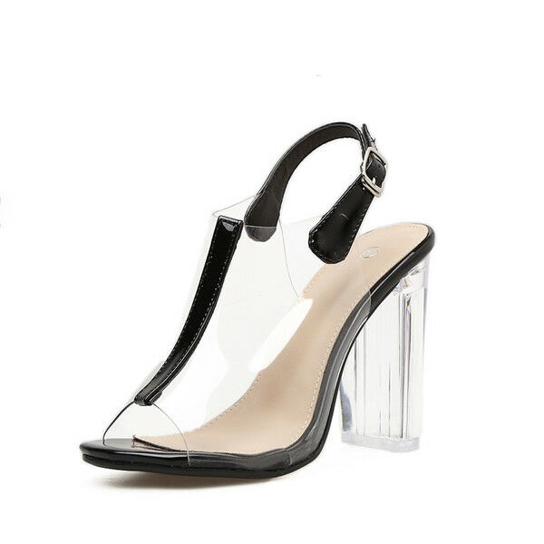 Sandalias elegantes talón cuadrado 9.5 cm negro cordones como piel 9698