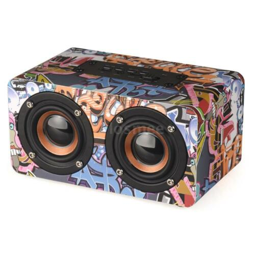 Mini Portable Wooden Bluetooth Wireless Speaker 3D HiFi Stereo Dual Loudspeakers