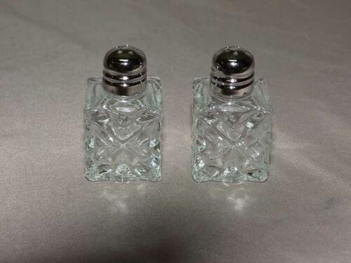 Clear Glass 7vtg Minature Individual Salt and Pepper Shakers 6 sets