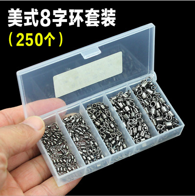 250pcs//Box Fishing Rolling Barrel Swivel Solid Ring Tackle Connector 2//4//6//8//10#
