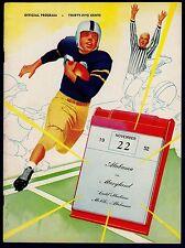 1952 Alabama Vs Maryland Program Bart Starr 11/22/52 Excellent+ 16485