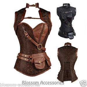cc73 steampunk boned corset brown leather gothic halloween