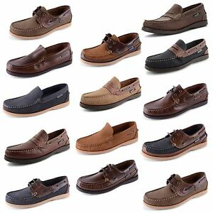 New Mens Helmsman Real Leather Slip On Lace Up Moccasin Boat Deck Shoes Sizes UK