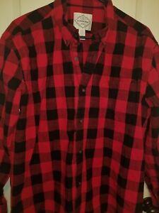 Men-039-s-St-Johns-Bay-Flannel-Long-Sleeve-Button-Down-Size-Xl-Black-Red-Plaid-Shirt